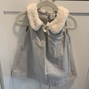 Gap Faux Fur Collar Holiday Dress EEUC